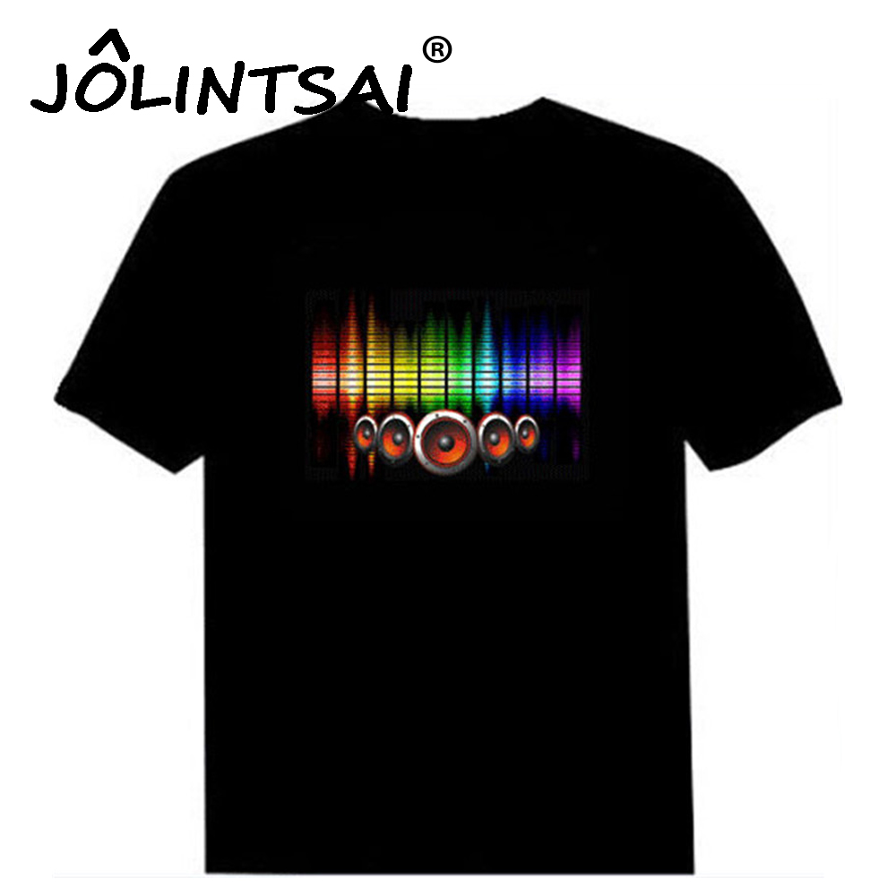 Hot sale sound activated led cotton t shirt light up and for Name brand t shirts on sale