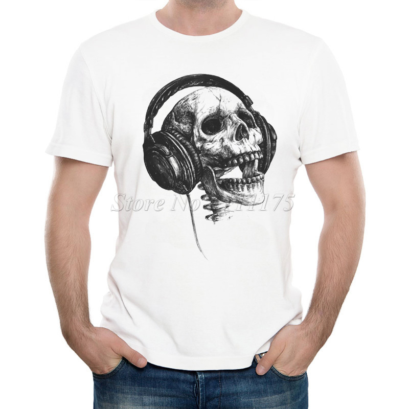 new arrivals 2017 men 39 s funny music skull head printed t shirt cool summer tops high quality. Black Bedroom Furniture Sets. Home Design Ideas