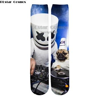 PLstar Cosmos Fashion DJ Singer Marshmello Men Women New Style 3d Socks Print Long Stocking Harajuku Unisex
