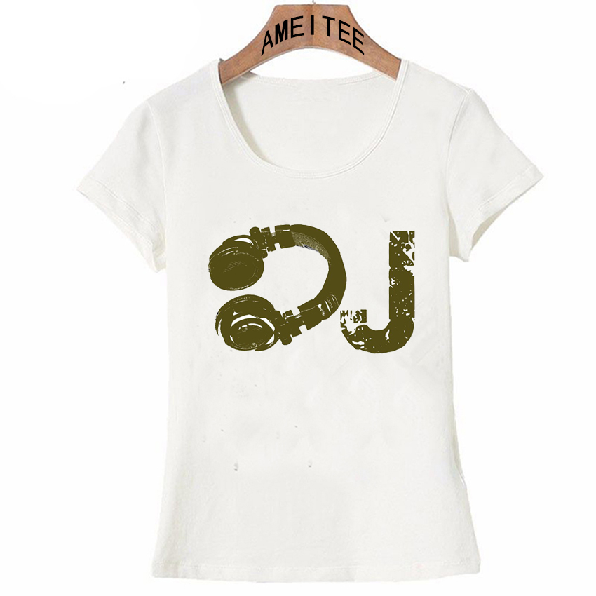 2018 New Summer Casual Women Short Sleeve The Dj Design T Shirt Novelty Music T Shirt Fashion Lady Tops Cute Girl Tee Dj Drops And Jingles