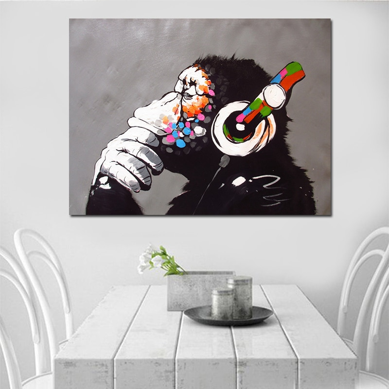 Dropshipping Cheap Home Decor Modern Dj Monkey Painting Wall Art Pictures Custom Canvas Poster Prints For Child Room Decor