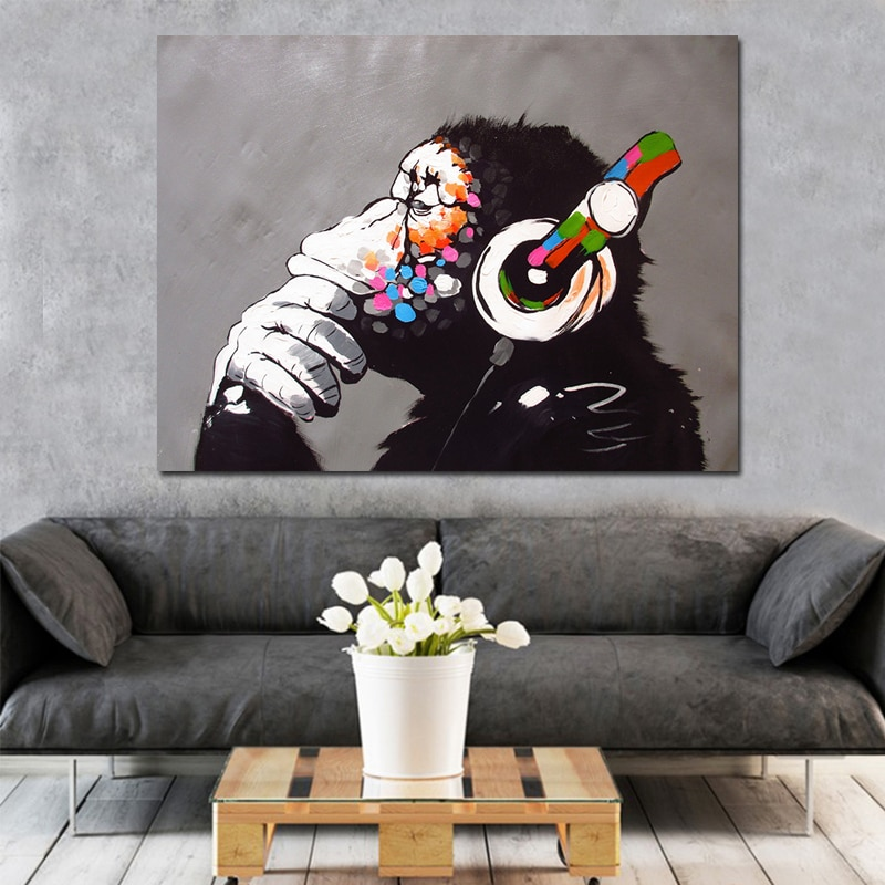 Dropshipping Home Decor Modern Dj Monkey Painting Wall Art Pictures Custom Canvas Poster Prints For Child Room