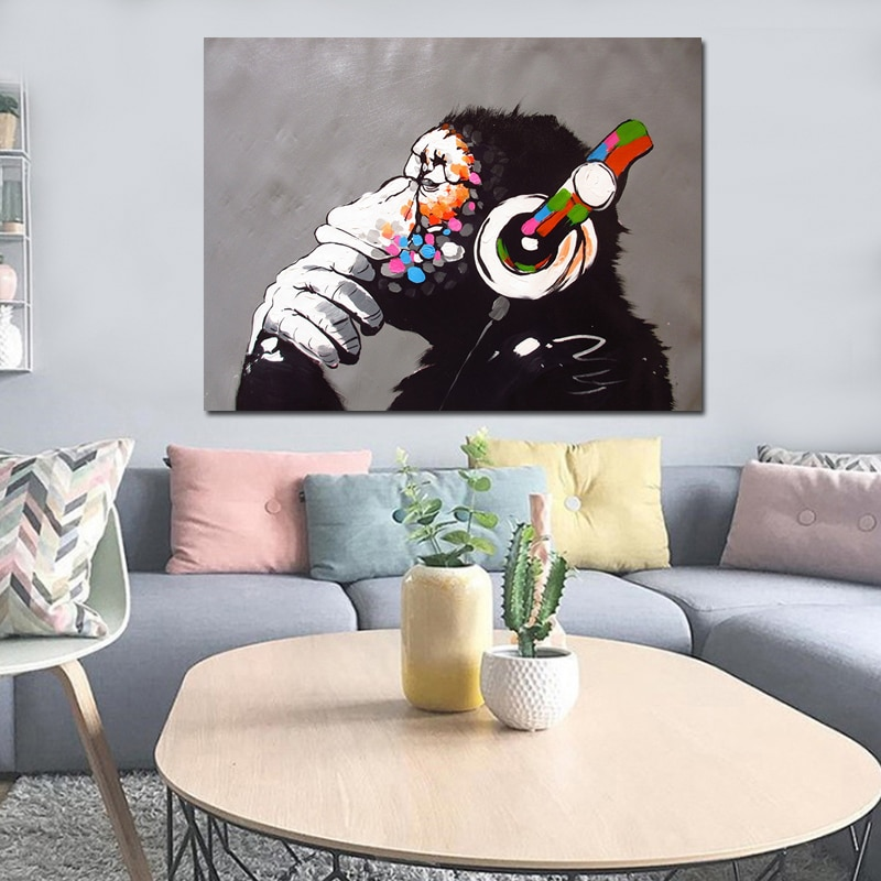 Cool Dropshipping Cheap Home Decor Modern Dj Monkey Painting Wall Art Pictures Custom Canvas Poster Prints For Child Room Decor Download Free Architecture Designs Scobabritishbridgeorg