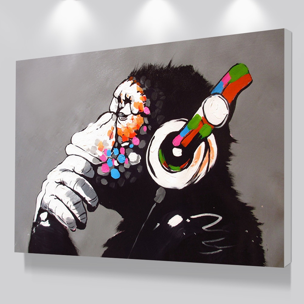 Dropshipping Cheap Home Decor,Modern DJ Monkey Painting,Wall Art  Pictures,Custom Canvas Poster Prints For Child Room Decor